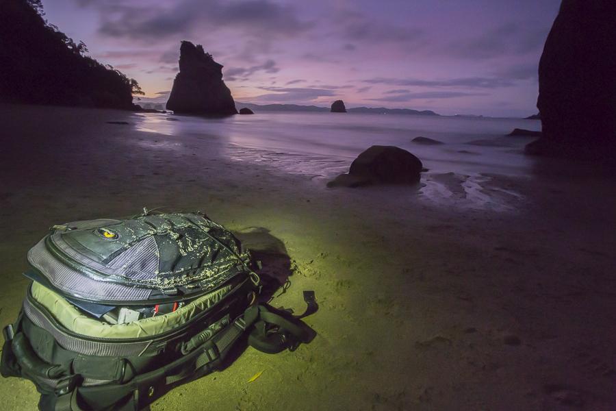 lowepro backpak, new zealand, beach